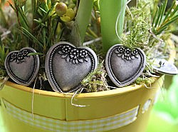 Boutons - Coeurs en métal 1