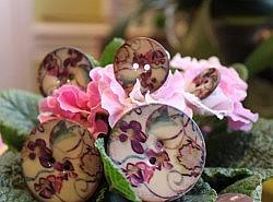 Boutons - Rond en noix de coco décor fleurs 1