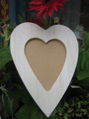 RICO - Cadre coeur en bois blanc 1