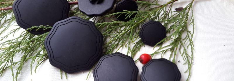 Bouton – Noir mat à 2 sillons & festonné