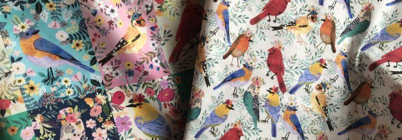 Tissu – 2: oiseaux sur blanc ou en quadrillage