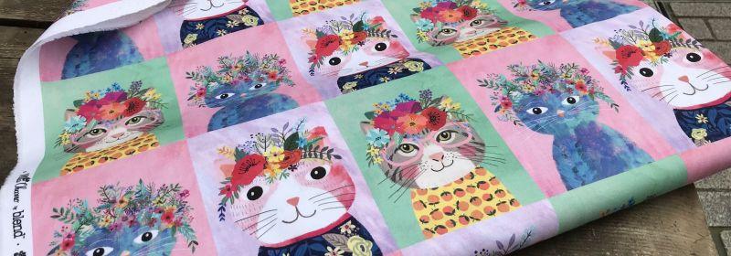 Tissu – Quadrillé : «Floral cats»