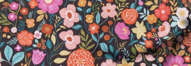 Tissu – Fleurs «Good Vibes»